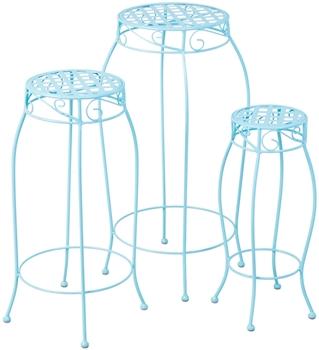 Alfresco Martini Round Plant Stands Sky Blue Finish-Set Of 3