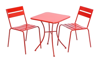 """Alfresco Riposo Dining Bistro Set With 24"""" Square Table And 2 Bistro Chairs"""