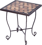 """Alfresco Recco 20"""" Square Ceramic Mosaic Outdoor Side Table with Tile Top and Base"""