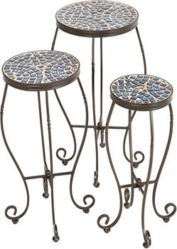 Alfresco Tremiti Round Ceramic Mosaic Plant Stands-Set of 3
