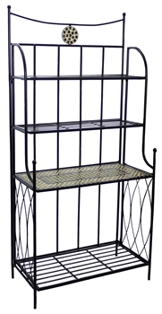 Alfresco Shannon Ceramic Mosaic Outdoor Bakers Rack With Tile Shelf