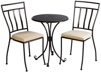 "Alfresco Ponza Granite 3 Piece Bistro Set With 24"" Round Granite Top Bistro Table And 2 Bistro Chairs"
