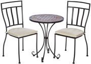 """Alfresco Dublin 3 Piece Bistro Set With 24"""" Round Ceramic Top Bistro Table and 2 Bistro Chairs"""
