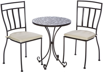 """Alfresco Bolla 3 Piece Bistro Set With 24"""" Round Ceramic Top Bistro Table and 2 Bistro Chairs"""