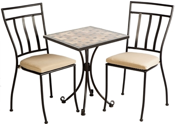 """Alfresco Recco 3 Piece Bistro Set With 24"""" Round Ceramic Top Bistro Table and 2 Bistro Chairs"""