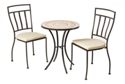 """Alfresco Boracay 3 Piece Bistro Set With 24"""" Round Ceramic Top Bistro Table And 2 Bistro Chairs"""