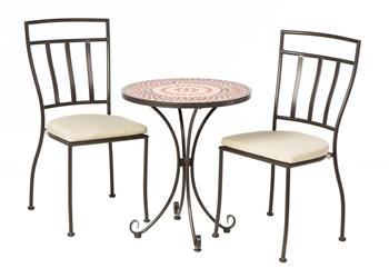 "Alfresco Stellarton 3 Piece Bistro Set With 24"" Round Ceramic Top Bistro Table and 2 Bistro Chairs"