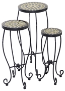 Alfresco Shannon Round Ceramic Plant Stands with Powdercoated Base - Set of 3