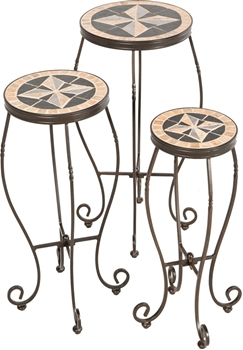 Alfresco Formia Round Ceramic Plant Stands with Powdercoated Base - Set of 3