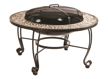 "Alfresco Vulcano 33.5"" Round Wood Burning Fire Pit with Decorative Surround"
