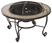 """Alfresco Shannon 33.5"""" Round Wood Burning Fire Pit With Decorative Surround"""