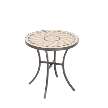 """Alfresco Shannon 33.5"""" Round Wood Burning Fire Pit with Decorative SurroundBoracay 20"""" Round Ceramic Mosaic Outdoor Side Table with Tile Top and Base"""