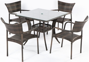 "Alfresco Tutto All Weather Wicker Set With 36"" Square Dining Table And 4 Dining Arm Chairs"