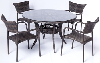 "Alfresco Tutto All Weather Wicker Set With 48"" Round Dining Table and 4 Dining Arm Chairs"