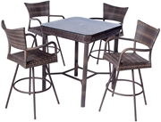 """Alfresco Tutto All Weather Wicker Bar Height Set With 36"""" Square Bar Height Dining Table and 4 Swivel Bar Arm Chairs"""