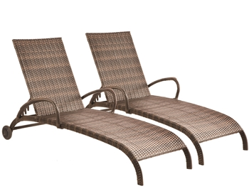 Alfresco Set Of 2 All Aluminum Tutto Wicker Adjustable Chaises