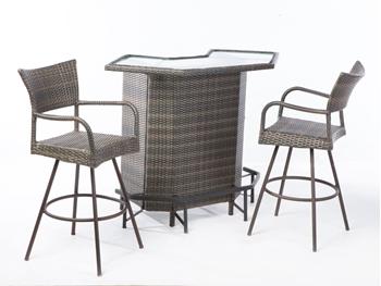 Alfresco Tutto All Weather Wicker Mezzo Bar With 2 Swivel Bar Arm Chairs