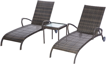 """Alfresco Tutto All Weather Wicker Chaise Lounge Set With 18"""" Square Side Table And 2 Adjustable Chaises"""
