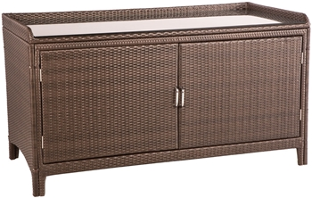 Alfresco All Weather Wicker Sideboard with Shelf and Glass Top Aluminum Frame Dark Roast Finish