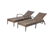 Alfresco Set Of 2 Everwoven All Aluminum Frame Wicker Adjustable Back Chaise Lounges