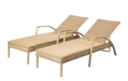 Alfresco Set of 2 Everwoven All Aluminum Frame Wicker Adjustable Back Chaise Lounges Spiced Chai Finish