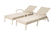 Alfresco Set Of 2 Everwoven All Aluminum Frame Wicker Adjustable Back Chaise Lounges Whip Finish