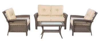 Alfresco Isabella All Weather Wicker 4 Piece Deep Seating Set with Cushions