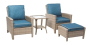 Alfresco Siesta 4 Piece Aluminum Frame/All Weather Wicker Deep Seating Lounge Set With Cushions