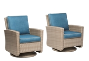 Alfresco Set of 2 Siesta Deep Seating Aluminum Frame/All Weather Wicker Swivel Rockers with Cushions