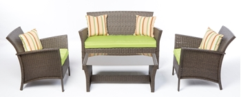 Alfresco Bimini All Weather Wicker 4 Piece Seating Group With Cushions And Throw Pillows