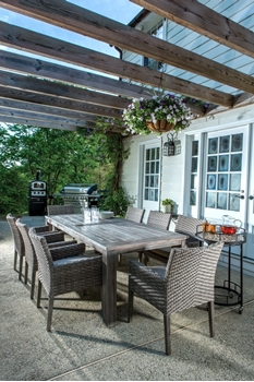 """Alfresco Cornwall Woven Wood Set With 94.5"""" Rectangular Wood Dining Table And 8 Dining Arm Chairs With Sunbrella Cast Shale Cushions"""