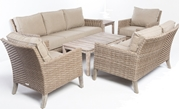 Alfresco Cornwall Woven Wood Deep Seating Conversation Set With Sunbrella Cast Shale Cushions