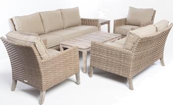 Alfresco Cornwall Woven Wood Deep Seating Conversation Set With Sunbrella Cast Shale Cushions