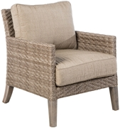 Alfresco Cornwall Woven Wood Deep Seating Lounge Chair With Sunbrella Cast Shale Cushion