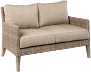 Alfresco Cornwall Woven Wood Deep Seating Loveseat With Sunbrella Cast Shale Cushion