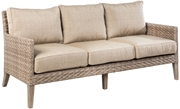 Alfresco Cornwall Woven Wood Deep Seating Sofa With Sunbrella Cast Shale Cushion