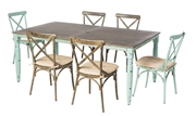 "Alfresco Maison All Aluminum French Dining Set With 72"" Rectangular French Dining Table With Umbrella Hole And 6 Dining Chairs With Cushions"