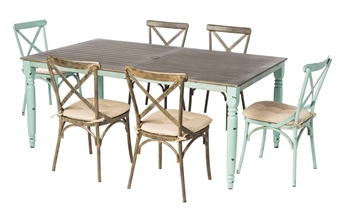 """Alfresco Maison All Aluminum French Dining Set With 72"""" Rectangular French Dining Table With Umbrella Hole And 6 Dining Chairs With Cushions"""