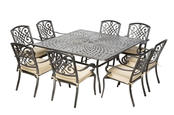 """Alfresco Barcelona Cast Aluminum Dining Set With 64"""" Square Dining Table With Umbrella Hole and 8 Stackable Dining Arm Chairs with Cushions"""