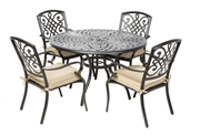 """Alfresco Barcelona Cast Aluminum Dining Set With 87"""" Rectangular Dining Table With Umbrella Hole And 6 Stackable Dining Arm Chairs With Cushions And 2 Dining Swivel Rockers With Cushions"""