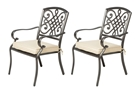 Alfresco Set Of 2 Barcelona Cast Aluminum Stackable Dining Arm Chairs - No Cushion