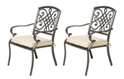 Alfresco Set Of 2 Barcelona Cast Aluminum Stackable Dining Arm Chairs