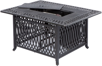 """Alfresco Pescara 50"""" X 34"""" Rectangular Cast Aluminum Gas Fire Pit/Chat Table With Burner Kit"""