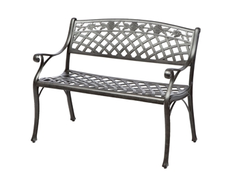 Alfresco Cinco Rosas Cast Aluminum Outdoor Bench Antique Fern Finish