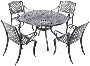 "Alfresco Westbury Cast Aluminum Dining Set With 48"" Round Dining Table"