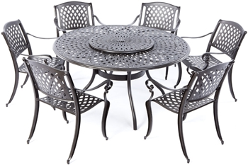 "Alfresco Westbury Cast Aluminum Dining Set With 59"" Round Dining Table"