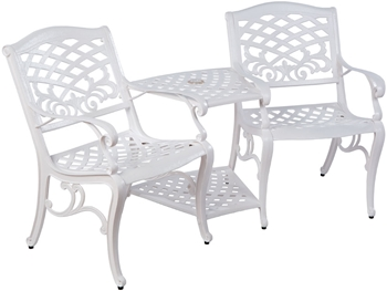 Alfresco Tete-A-Tete Bench With Umbrella Hole White Finish