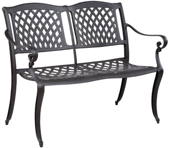 Alfresco Westbury Two Seat Garden Bench with Arms Antique Bronze Finish