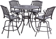 "Alfresco Westbury Cast Aluminum Dining Set With 42"" Round Bar Height Table With Umbrella Hole and 4 Bar Height Swivel Arm Chairs"