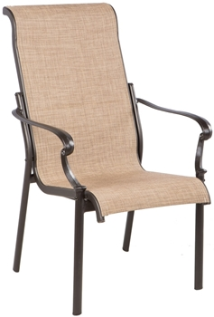 Alfresco Westbury Cast Aluminum Sling Dining Arm Chair in Antique Bronze Finish